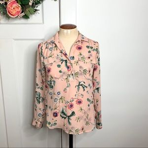 Ann Taylor Pink Floral Button Popover Top